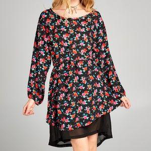 Floral Black & Red Blouson Dress